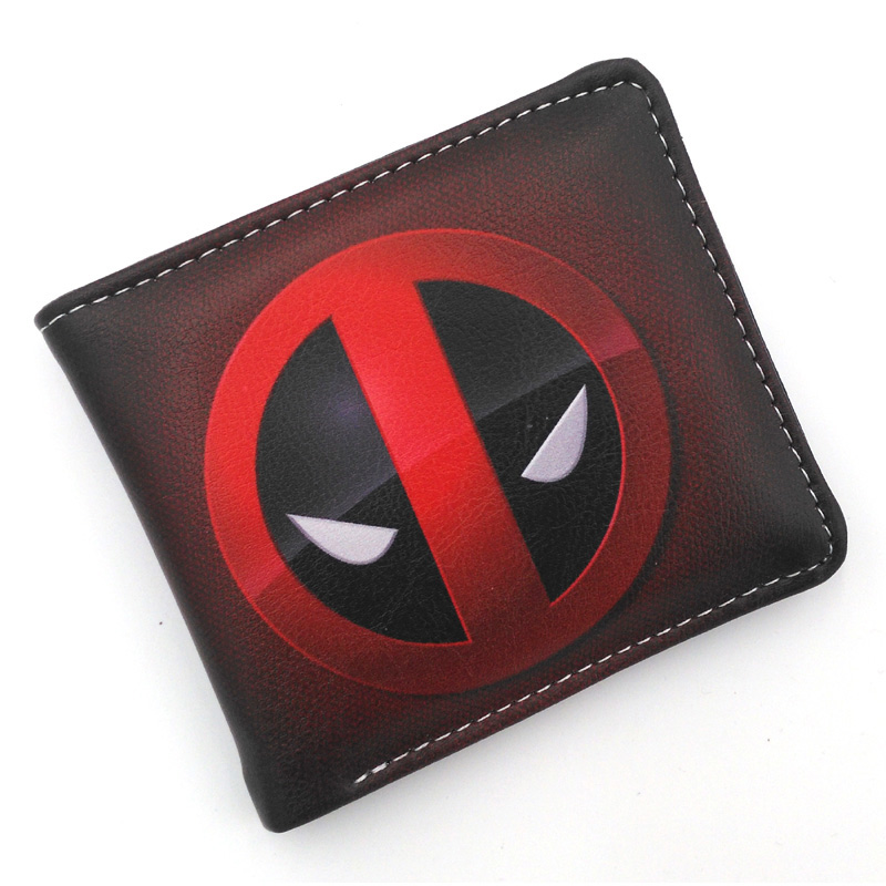 Deadpool Dark Red Folding Wallet/High Quality Short PU Purse Free Shipping moana maui high quality pu short wallet purse with button