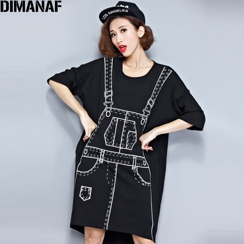 Plus Size Autumn Dress 3D Pattern Print T-Shirt Cotton Female Hlaf T Shirt Fesyen Big Size Kawaii Punk Black Longgar Tops Baru