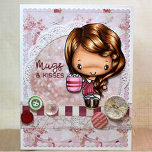 Hugs Kisses Girl Transparent Stamp Clear Stamps for DIY Scrapbooking Photo Album Paper Cards Decorative Crafts Supplies 3*4 inch