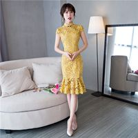 Short Style Fashion Yellow Women's Mini Cheongsam New Arrival Chinese Lace Qipao Dress Vestido Size S M L XL XXL XXXL 27533A