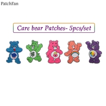 Patchfan 5pcs/set care bears cartoon Iron on Patches Clothing para Embroidered badges Sewing Applique Patchworks stickers A1202