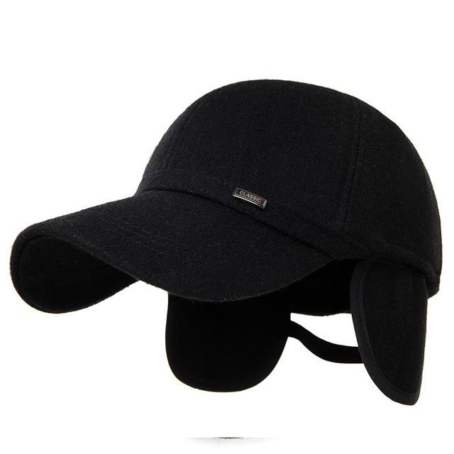 Invierno y primavera caliente de protección del oído del sombrero de lana de invierno quincuagenario casquillo macho gorra de béisbol de moda de nueva marca de lana tapas térmicas