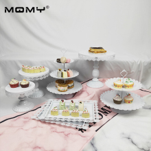 Wholesale 7Pcs Thin Disk 3 Tier Cupcake Wedding Crystal Decorating Gold White Pink Tray Cake Stand Set