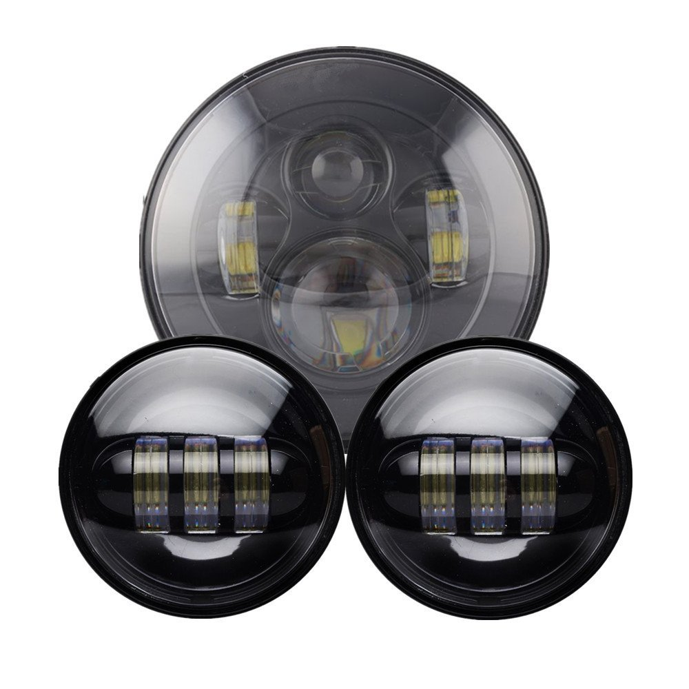 """Harley Motorcycle 7"""" LED Daymaker Headlamp Headlight 4.5 """" Auxiliary Passing Lights Fit Harley Road King , Touring"""