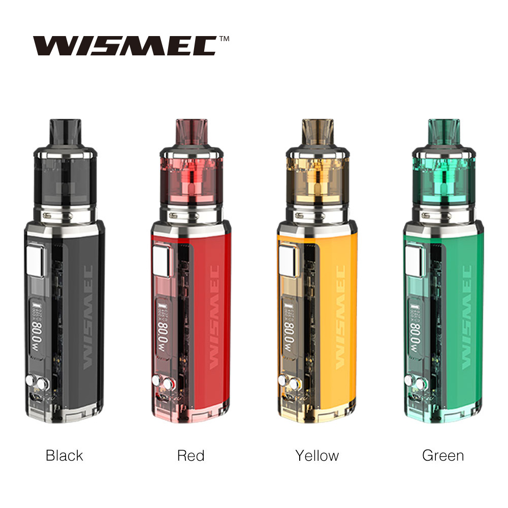 100 New WISMEC SINUOUS V80 80W TC Kit 2ml 3ml Amor NSE Atomizer Centered 510 Connector