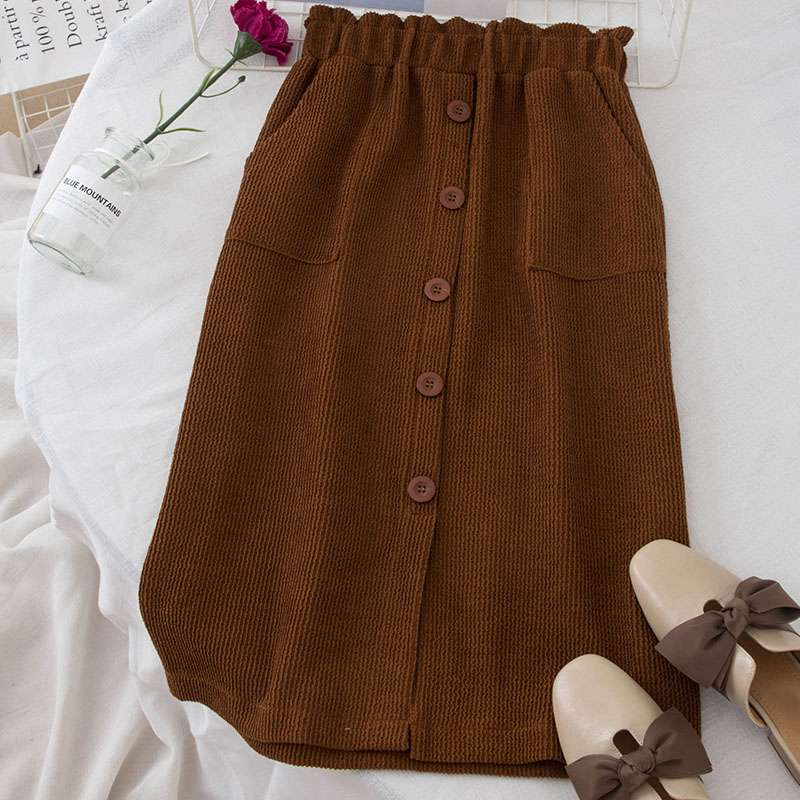 1d1c95360ef Detail Feedback Questions about Mferlier Winter Skirt Women Elastic High  Waist Pockets Solid Brown Black Mori Girl Stylish Vintage Buttons Corduroy  Skirt on ...
