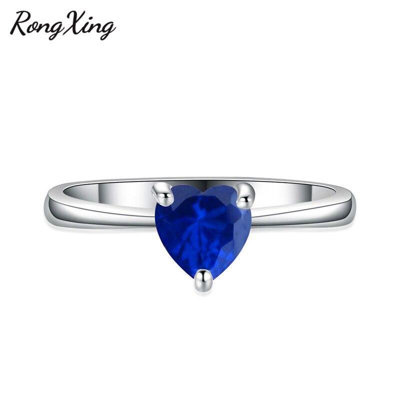 RongXing 925 пробы заполненный серебром браслет с сердцем из опала камень кольца для женщин Винтажная Мода фиолетовый/красный/синий/кольцо с зеленым Цирконом подарок - Цвет основного камня: Blue