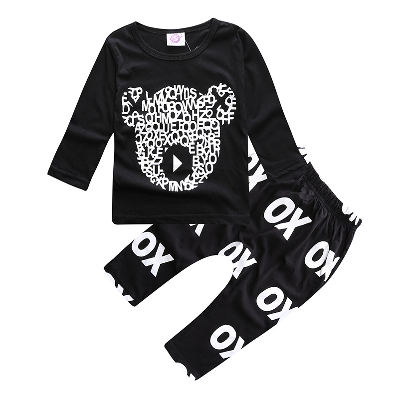 2018 baby girls clothing sets cartoon bear spring childrens wear cotton casual tracksuits kids clothes sports suit conjunto