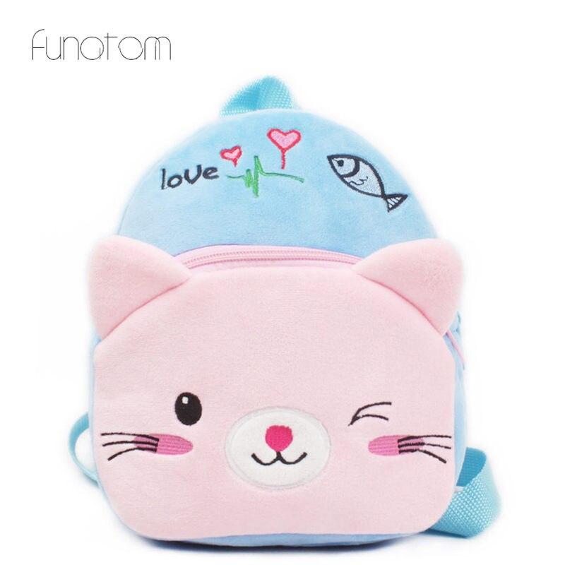 Cartoon Kids Plush Backpacks Baby Toy Schoolbag Student Kindergarten Backpack Cute Cat Children School Bags For Girls Boys