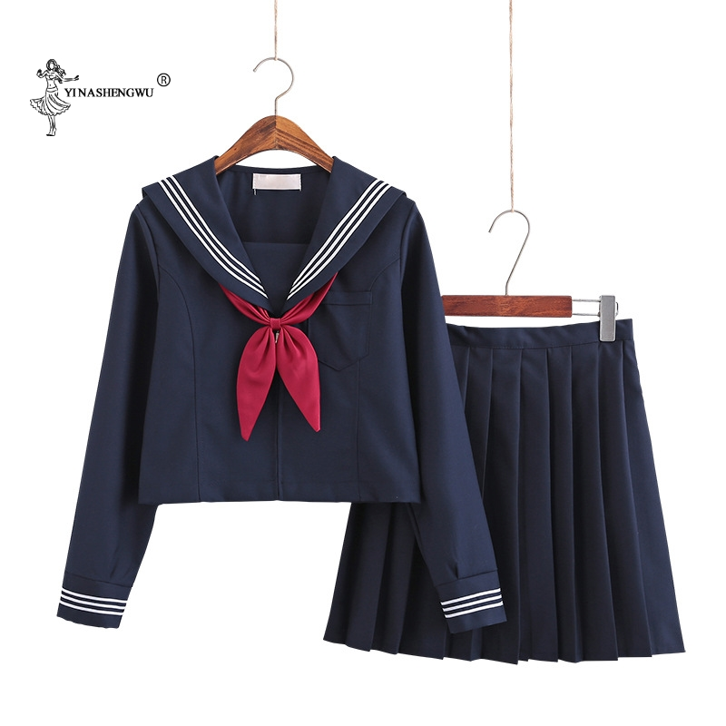 Navy Blue JK Uniform Autumn Summer Short/long Sleeve Japanese School Uniforms For Girls Sailor Pleated Skirt JK Sets Uniform