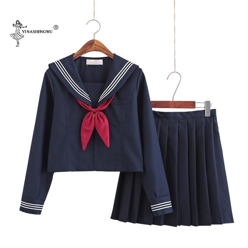 Navy Blue JK Uniform Autumn Summer Short/long Sleeve Japanese School Uniforms For Girls Sailor Pleated Skirt JK Sets Uniform