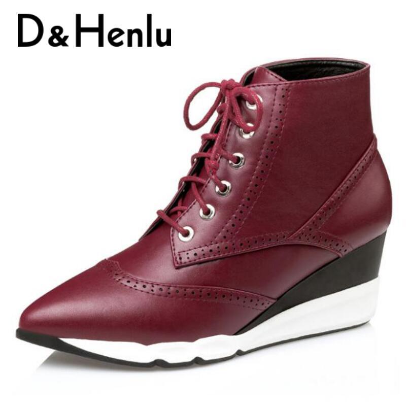 {D&Henlu} Special Sale Lace Up Sneaker Boots Women Shoes High Top Shoes Womens Leather Boots Wedges Shoe 2018 Autumn Botas недорго, оригинальная цена