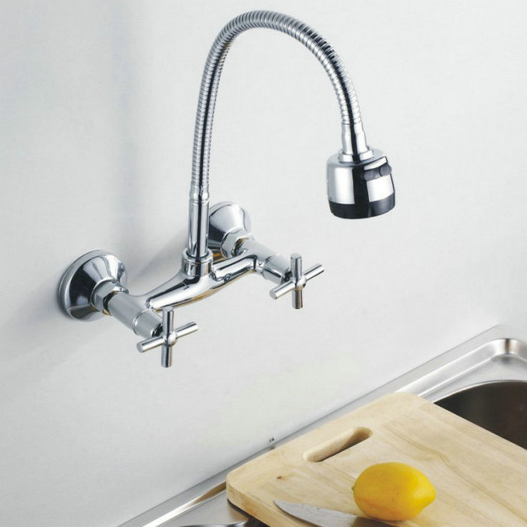 Kitchen Faucet Chromed Polished Brass Basin Mixer Tap 360 Swivel Sink Faucets Wall Mounted