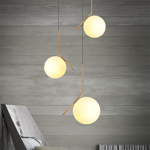 Image 2 - Modern gloden Glass Ball Pendant Lamp Fixtures Dining Bedroom lamp Luminaire Frosted Lampshade Socket Hanging Lamp luxury lustre