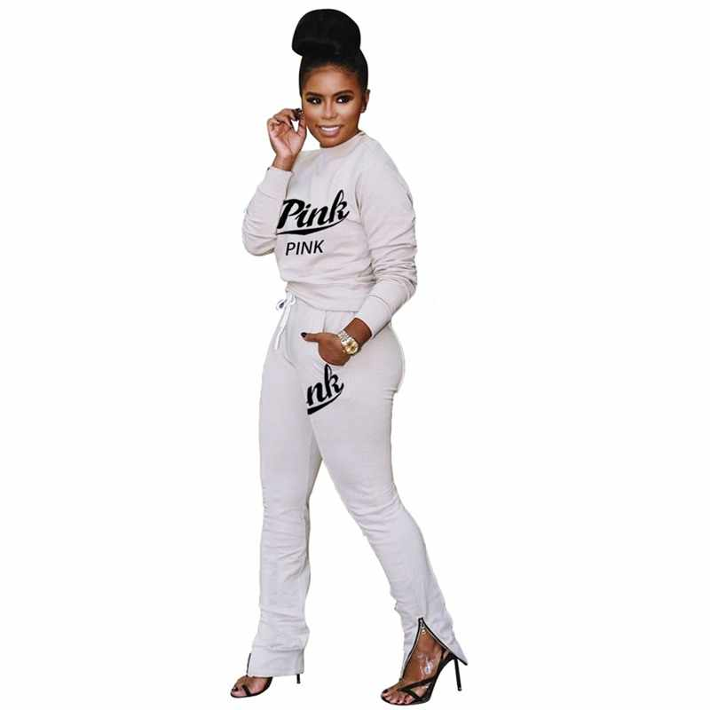RAISEVERN Insieme A Due Pezzi Breve Crop Magliette e camicette E Pantaloni Rosa Lettera Stampata Femminile 2019 Felpe Felpe A Manica Lunga Tuta