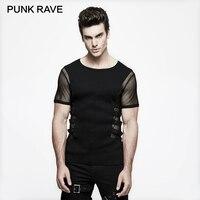 PUNK RAVE Personality Punk Rock T Shirt Men Black Knitted Street Mesh Sexy Tee Shirt Top