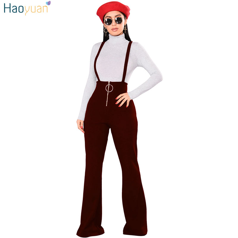 43e90c920ca HAOYUAN Front Zip Jumpsuits Autumn Winter Backless Spaghetti Strap Sexy  Bodysuit Overalls Wide Leg Pants Rompers Womens Jumpsuit
