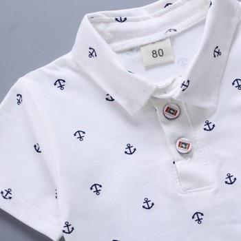 Newborn baby boys clothes set navy blue white T shirt and short 2
