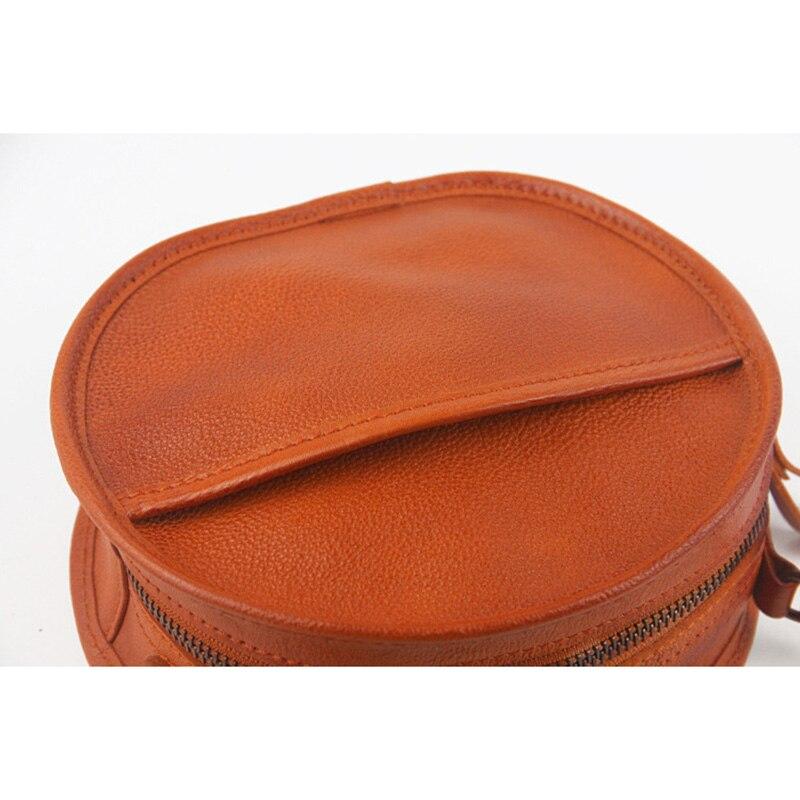 Yeesupsei moda feminina mini saco redondo couro genuíno circular crossbody ombro saco do mensageiro senhora casual cor sólida bolsa - 4