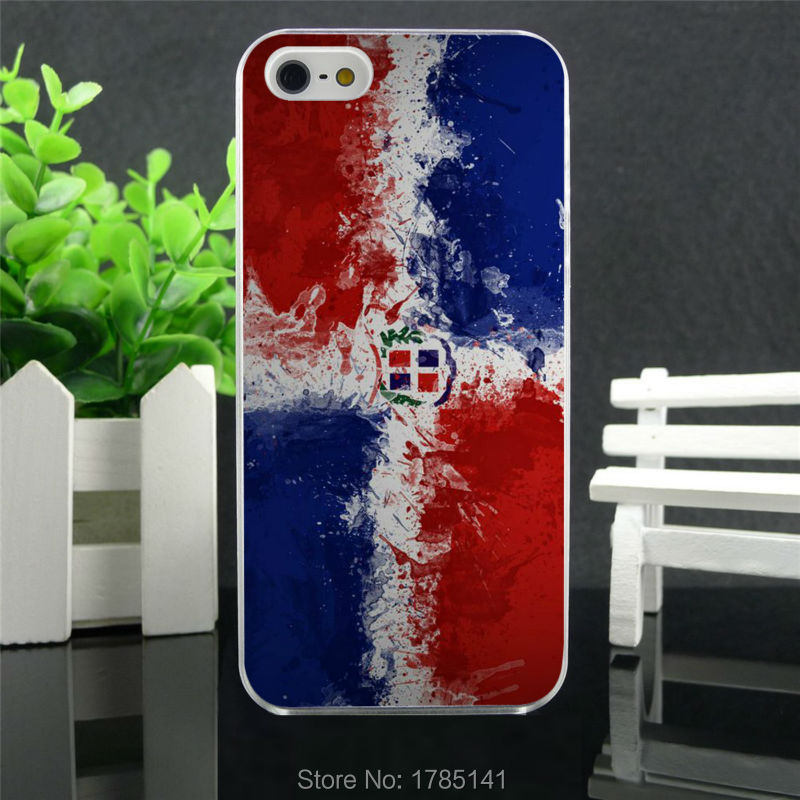 1pcs dominican republic flag Art hard white Skin Case for iphone 5 5s 4 4g 4S 5c Retail