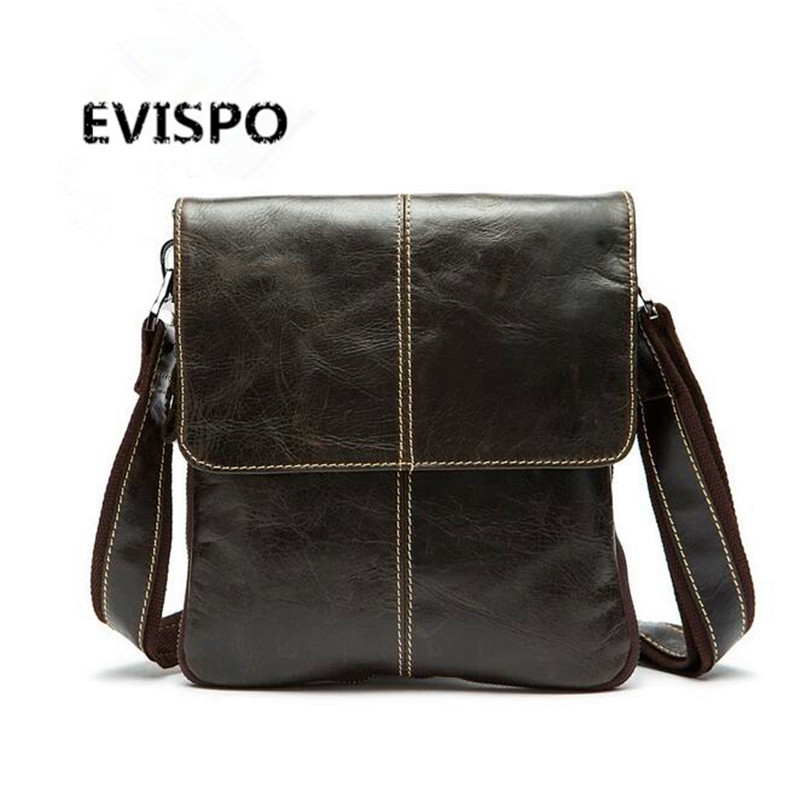 EVISPO Genuine Leather Men Bags Hot Sale Male Small Messenger Bag Man Fashion Crossbody Shoulder Bag Men's Travel New Bags genuine leather men bags hot sale male small messenger bag man fashion crossbody shoulder bag men s travel new bags 0231