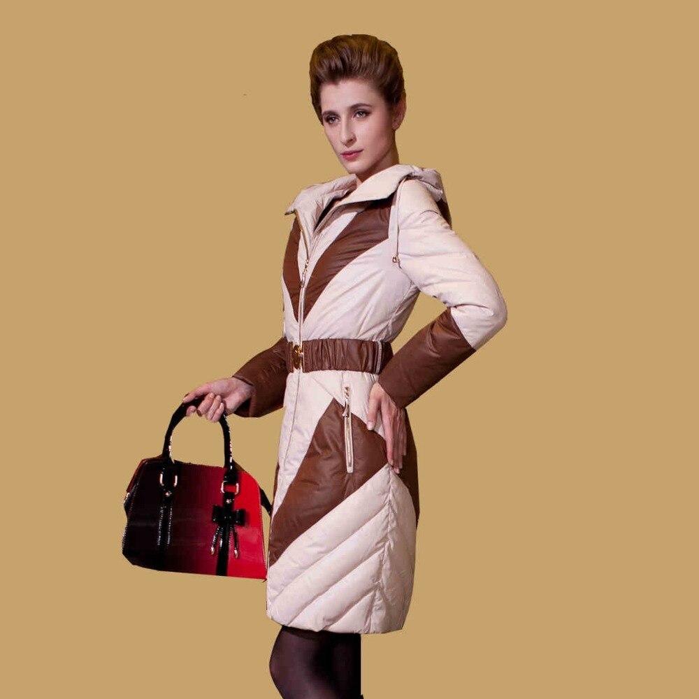 S- XXL new 2015 European and American high quality new fashion patchwork slim medium long warm duck down jacket with hood D3854 eral 2015 new fashion high quality women s soft hooded slim medium long down jacket afa6016