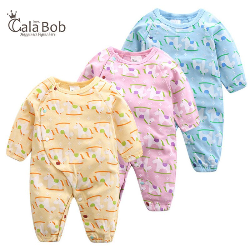 CalaBob Winter Baby Romper Newborn Clothes Long Sleeve Cotton Baby Rompers Cute Horse Printed Boy Girl Jumpsuit Baby Costume new 2017 panda cute baby boy romper long sleeve cotton jumpsuit baby cartoon printed rompers newborn baby boy girl clothes white