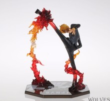 купить Anime One Piece Cool 6.8 One Piece Black Leg Sanji Fire Battle Version PVC Action Figure Collection Model Toy дешево