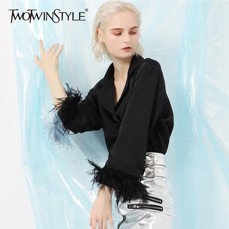 Deuxtwinstyle Patchwork plumes hauts femmes Blouses noires femmes chemise col en V Flare manches Slim Blouse automne vêtements élégants nouveau