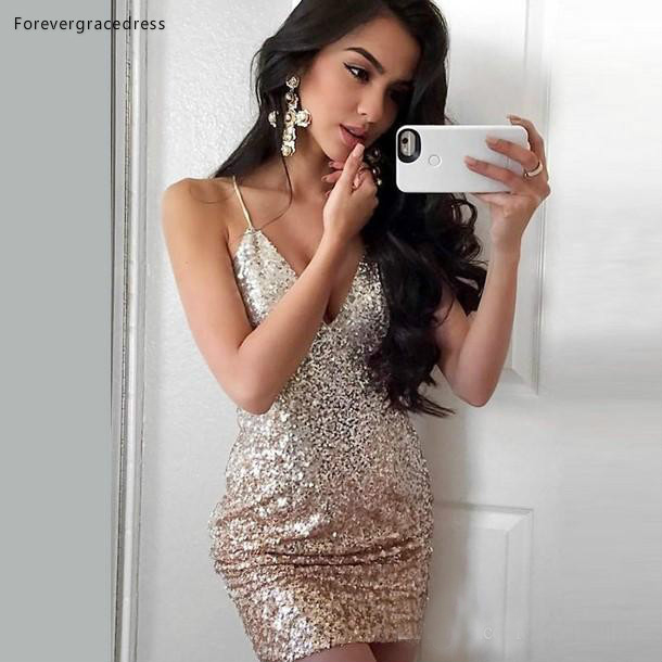 2019 Cheap Sheath Spaghetti Straps   Cocktail     Dress   Sequins Bodycon Formal Club Wear Evening Prom Party Gown Plus Size Custom Made