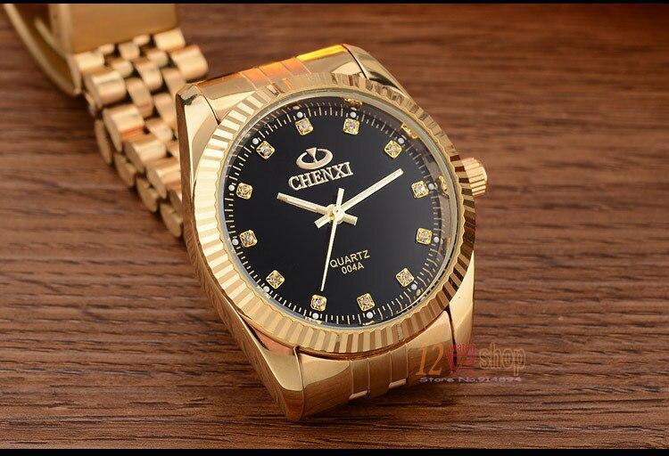 CHENXI Brand Top Luxury Ladies Gold Watch Women Golden Clock Female Women Dress Rhinestone Quartz Waterproof Watches Feminine 15