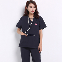 Scrubs Medical Uniforms Women OR Suits Dentist Working Clothes V Neck Black White Polyester Scrub Top