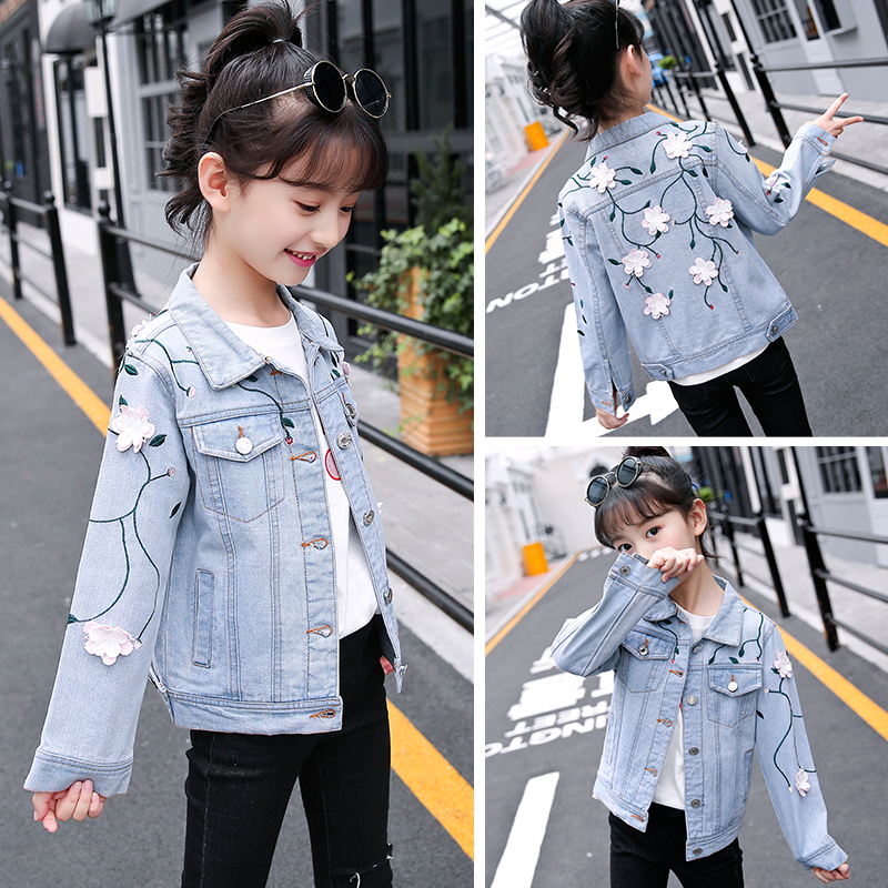 Children's Clothing New Fashion Girls Jackets  Floral  Long Sleeve Denim Coats For Baby Kids Clothes Casual Outwear Modis Tops