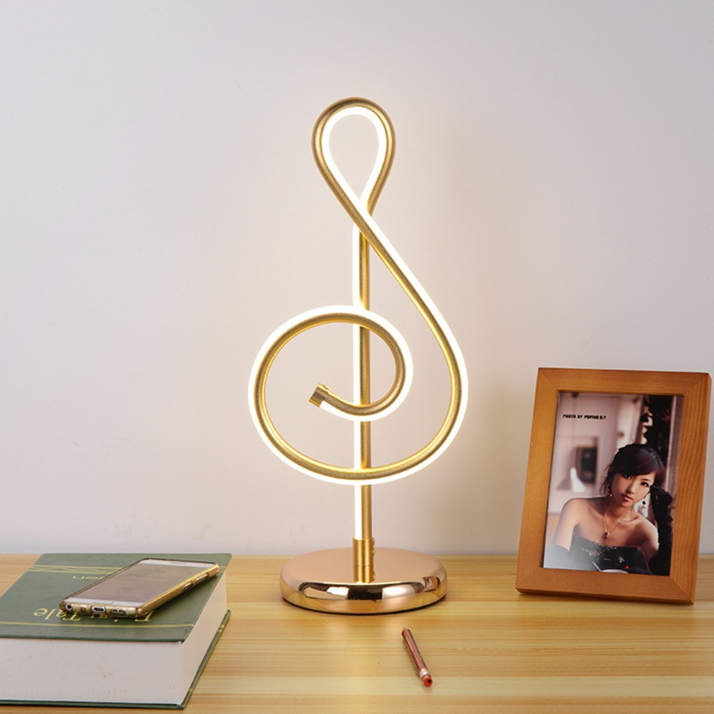 цена на 18W Modern Golden Music Note Artistic Decoration Lamp Home Living Room Bedroom Bedside Night LED Desk Lamp Light