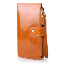Genuine Leather women wallets multifunctional Double Zipper Solid color zipper hasp wrist strap much Card holder Female Wallet