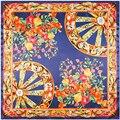 Mujeres de la Marca de Lujo Nuevo Diseño Flores Floral Vehículo Rueda Jacquard Weave Square Seda Sentirse Bufandas de Pashmina 90*90 cm bufanda