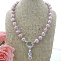 N111301 19 12mm Purple Keshi Pearl Necklace CZ Pendant