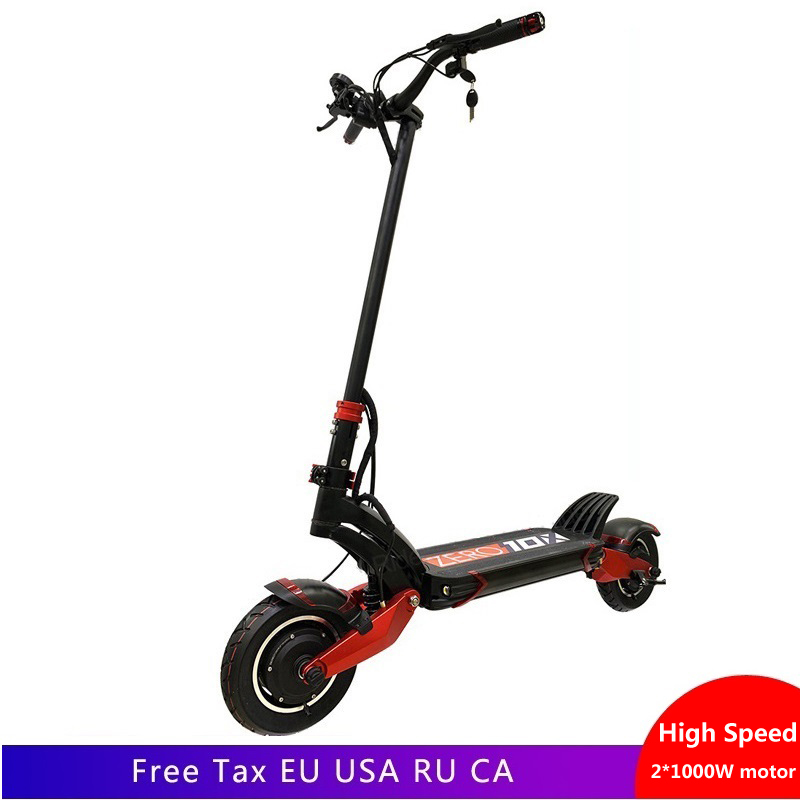 Le plus nouveau scooter électrique à Double moteur zéro 10X Speedual haute vitesse Double moteur scooter électrique 10 pouces 52 V 2000 W e-scooter 65 km/h