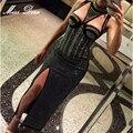 2016 elegent Женщины Белый черный Шипованных Колье сторона сплит Dress Diamonds Знаменитости Вечер бисероплетение Maxi Dress