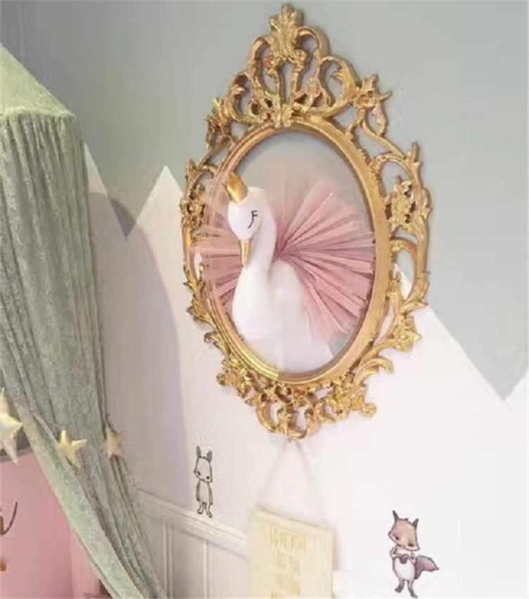 Cute 3D Golden Crown Swan Wall Art Hanging Girl Swan Doll Stuffed Toy Animal Head Wall Decor for Kids Room Birthday Wedding Gift