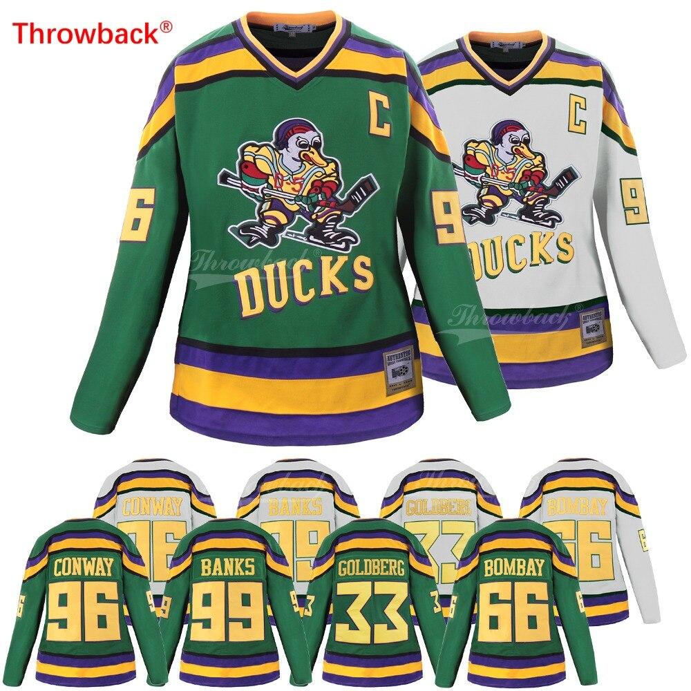 f60302989 Throwback Jersey Women's Mighty Ducks Jersey #96 Charlie Conway 33 Greg  Goldberg 99 Adam Banks 66 Gordon Bombay Hockey Jersey