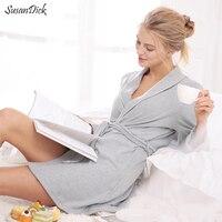 2017 New Knitted Cotton Women Bathrobe Autumn Winter Elegant Sexy Robes Sleepwear Female Brand Casual Home