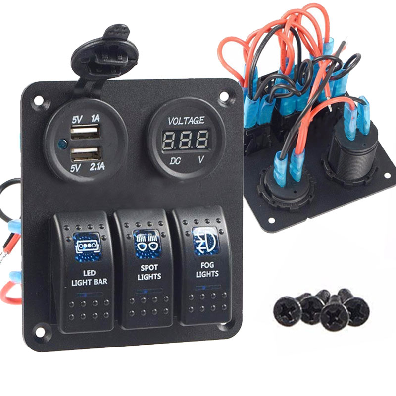 New Waterproof 3 Gang Rocker Switch Panel 12V 24V USB Socket Power Voltmeter Charger For Car Boat 2017 XR657