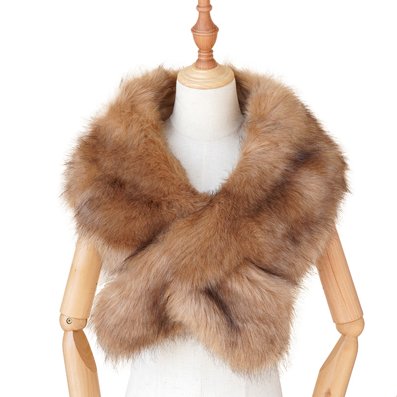 Faux Fur Collar Cape Shawl Winter Women Solid Long Hair Imitated Fur Scarves Autumn Fashion Smooth Large Shawl 135cm