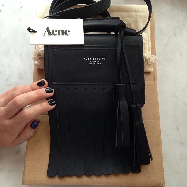 fe6056ca2bd0d ACNE studios stylish women messenger bag fashioan shoulder bolsas femininas  cow leather handbag black tassel genuine leather bag-in Crossbody Bags from  ...