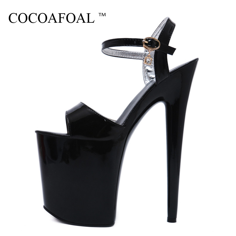 COCOAFOAL Women 20 CM Fetish High Heels Sandals White Black Red Pole Dance Shoes Sexy Summer Peep Toe Platform Heels Pumps 2018