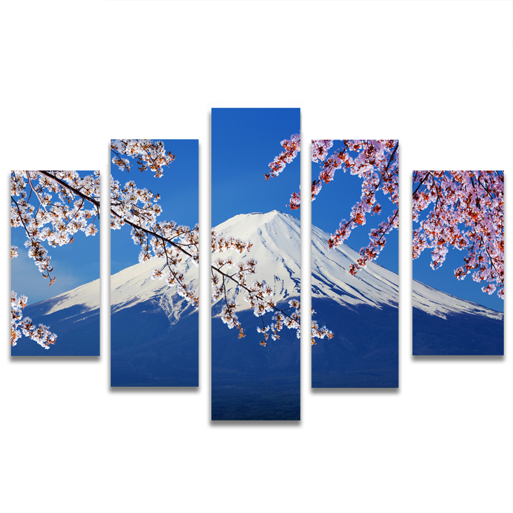 Unframed HD Canvas Painting Mount Fuji Japan Cherry Blossoms Picture Prints Wall Picture For Living Room Wall Art Decoration