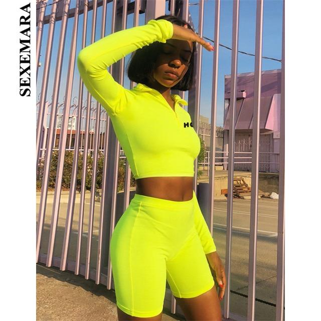 c18e4091e6d8 BOOFEENAA Fluorescent Sexy 2 Piece Set Women Tracksuit Long Sleeve Crop Top  and Biker Shorts Matching