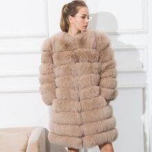 CNEGOVIK 2016 NEW hot sale woman real fox fur coat long fox fur coats blue fox fur jacket 80 cm