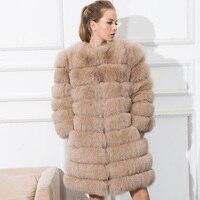 CNEGOVIK 2016 YENI sıcak satış kadın gerçek fox kürk uzun fox kürk palto mavi tilki kürk ceket 80 cm
